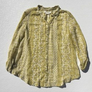heinie Sheer Button Down Blouse India Small